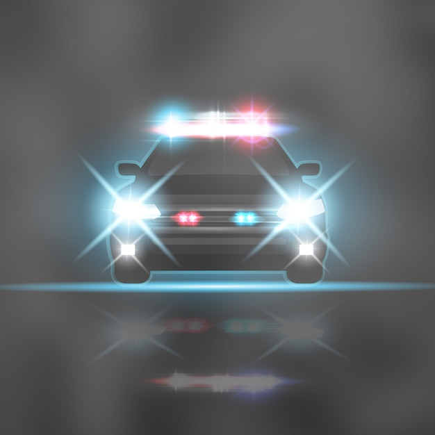 Police car with headlights flares and siren at the night road. special red and blue light beams Premium Vector