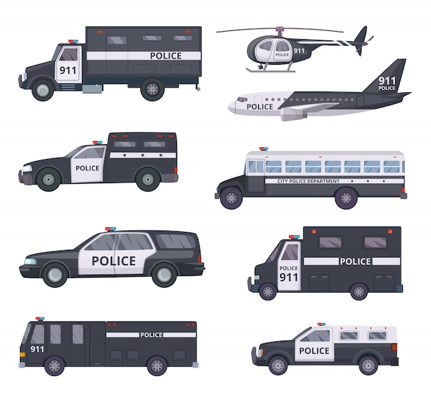 Police cars. vehicle protection services automobiles Premium Vector