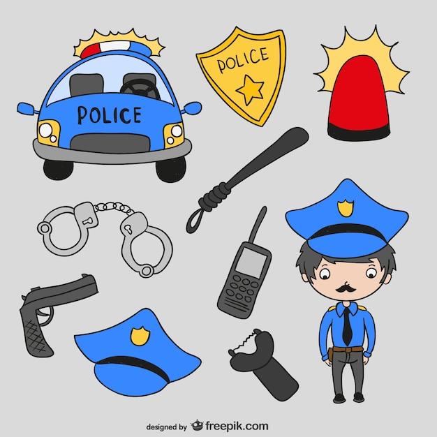 Police cartoons vector Free Vector