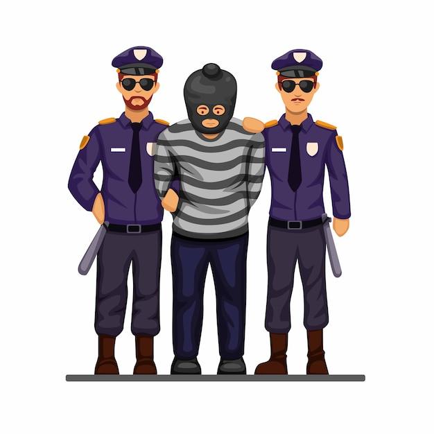 警察は漫画の手錠のシンボルの概念でテロリストや犯罪者を捕まえました Premiumベクター