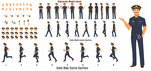 Police character model sheet with walk cycle animation sequence Premium Vector