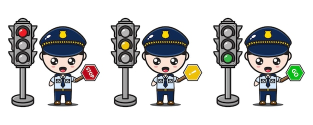 Police character with signs and traffic lights Premium Vector