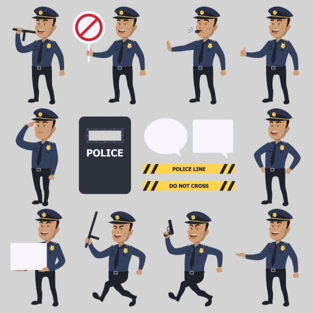Police characters collection vector free download Online vector editor