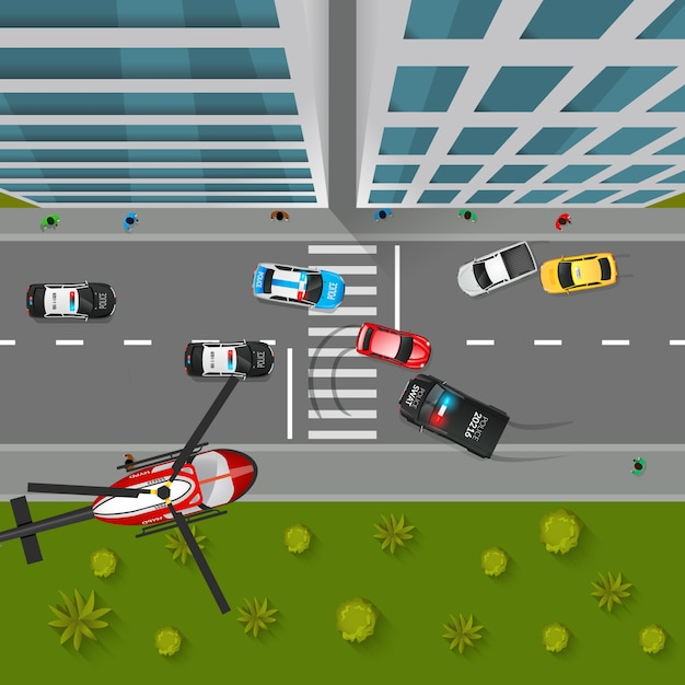 Police chase top view illustration Free Vector