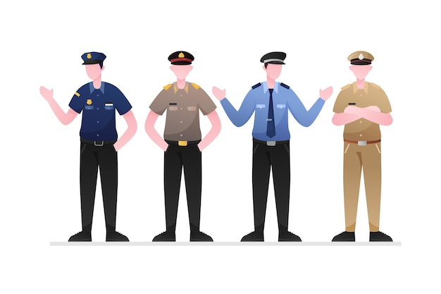 Police collection concept Free Vector