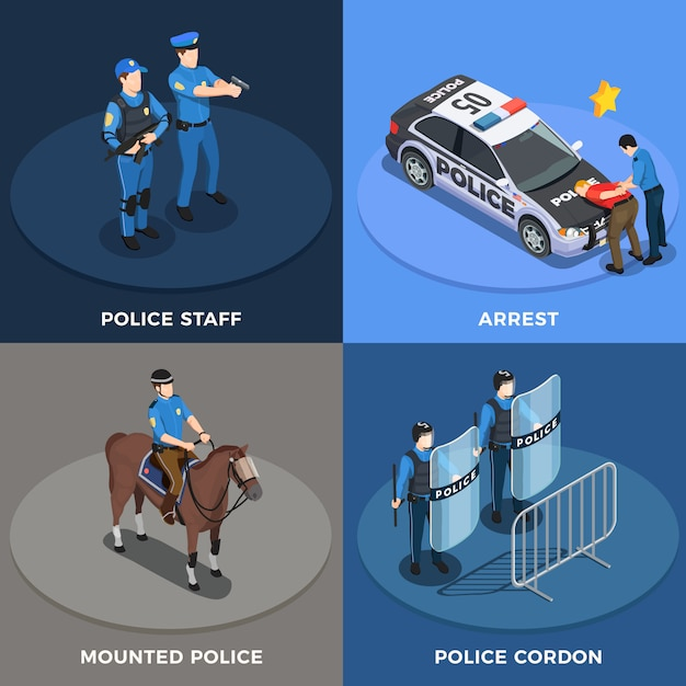 Police concept icons set Free Vector