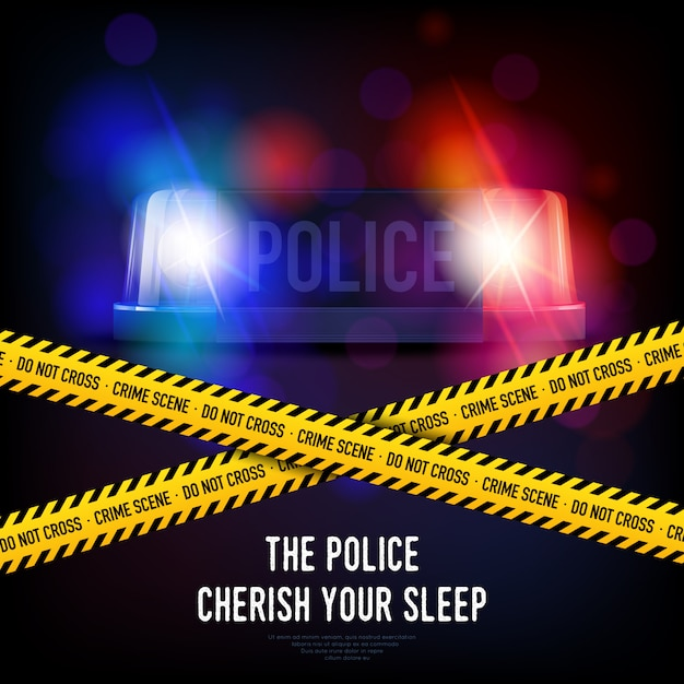 Police crime tape and siren Free Vector