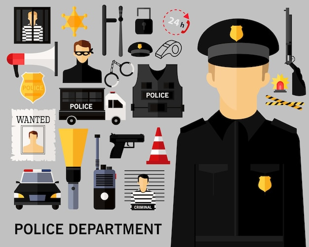 Police department concept background. Premium Vector