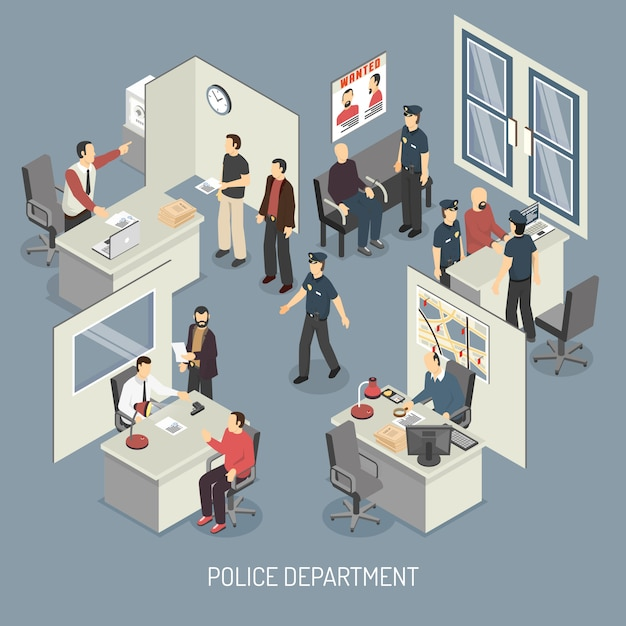 Police department isometric composition Free Vector