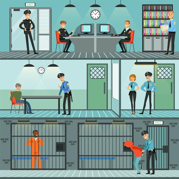 警察署セット、職場での警官、犯罪の調査、犯罪者の特定と逮捕横図 Premiumベクター