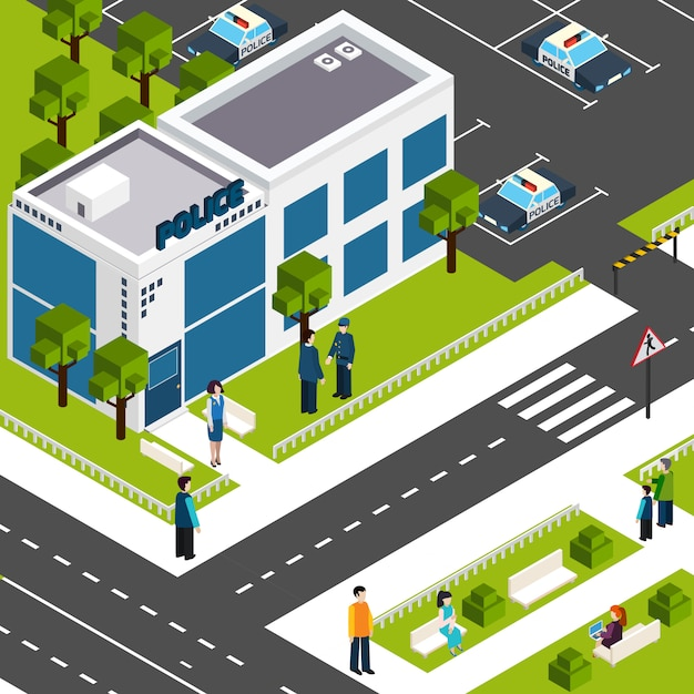 Police department station isometric poster Free Vector