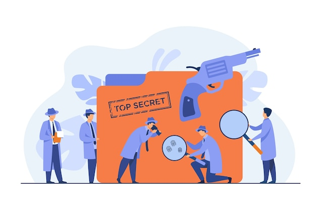 Police detectives searching evidences with magnifying glass flat vector illustration. cartoon spies or agents in hats, gun and undercover file. mystery and investigation concept Free Vector