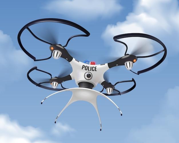 警察は都市の人口の安全と保護のための空の組成で現実的 無料ベクター