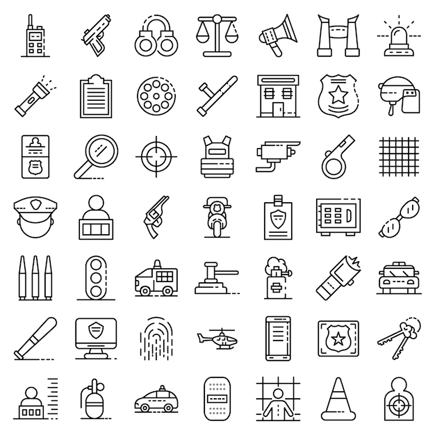 Police equipment icons set. outline set of police equipment vector icons Premium Vector
