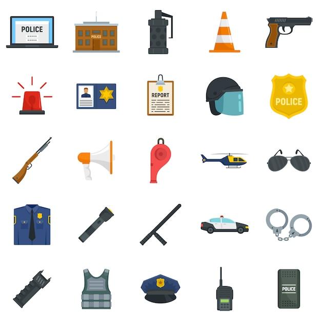 Police equipment icons set Premium Vector