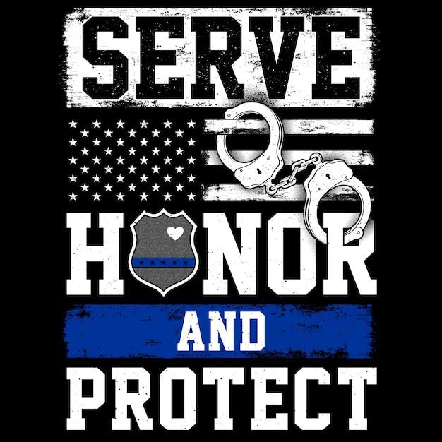 警察の旗、袖口、タイポグラフィは名誉を守る Premiumベクター