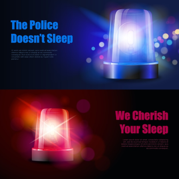 Police flasher siren with light effects banners Free Vector