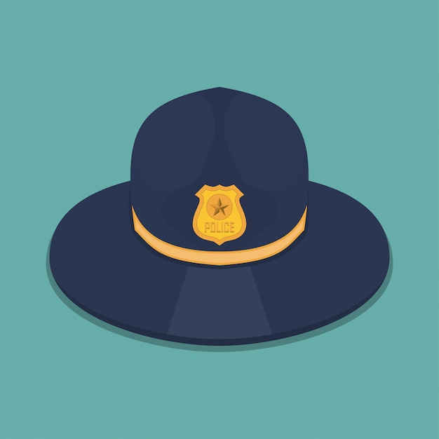 Police hat in a flat design Premium Vector