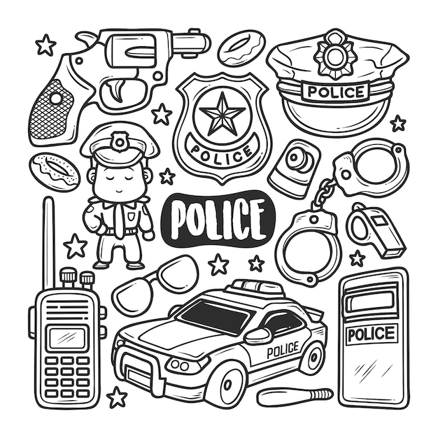 Police icons hand drawn doodle coloring Premium Vector
