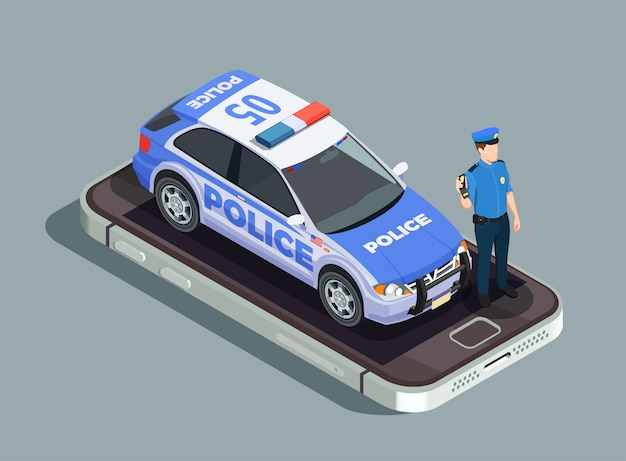 Police isometric concept Free Vector