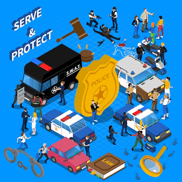 Police isometric illustration Free Vector