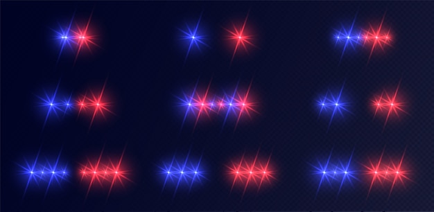 Police lights set, blue-red emergency headlights with flares. Premium Vector