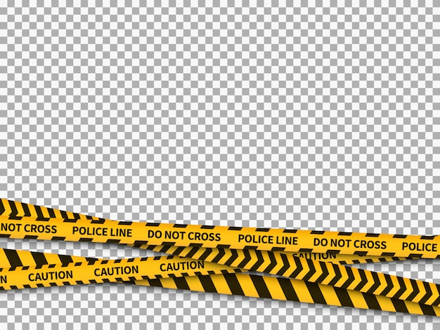 Police line background. caution yellow tape police security danger taped forbidden line safe attention crime Premium Vector