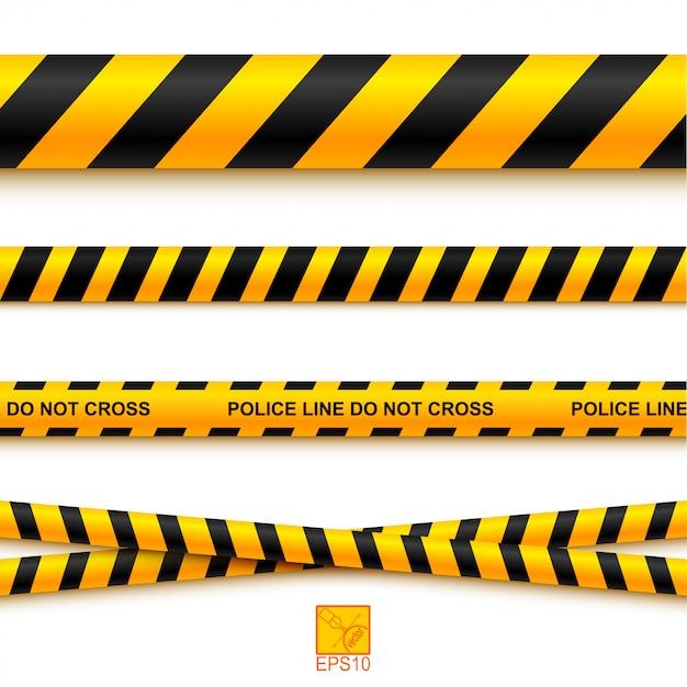 Police line tape and danger on a light background. vector illustration. eps 10 Premium Vector