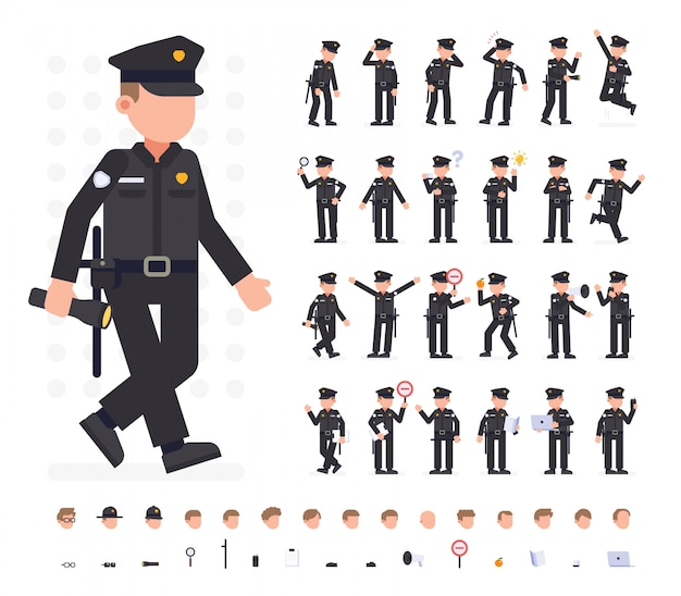 Police man character set in different poses. flat vector illustration. isolated Premium Vector