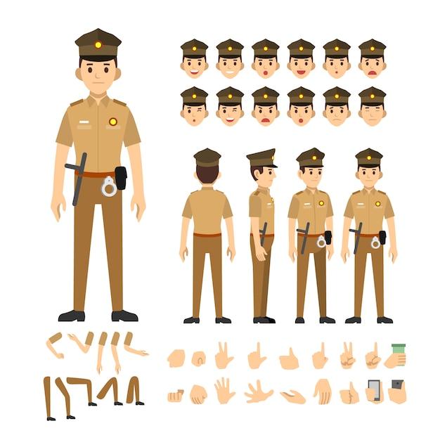 Police man india character set Premium Vector
