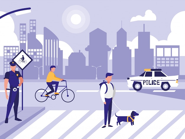 Police man with car and people in road street Premium Vector
