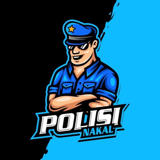 警察のマスコットロゴeスポーツゲーム Premiumベクター