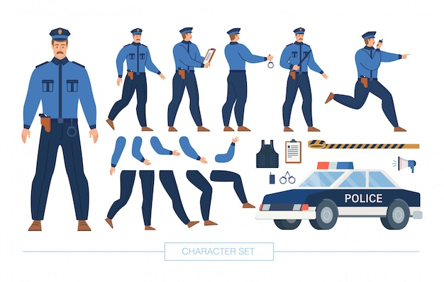 Police officer character constructor  set Premium Vector