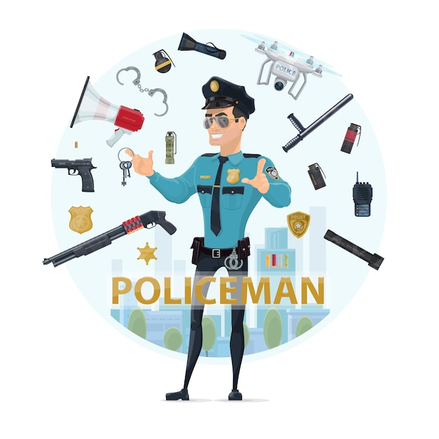 Police officer elements round concept Free Vector