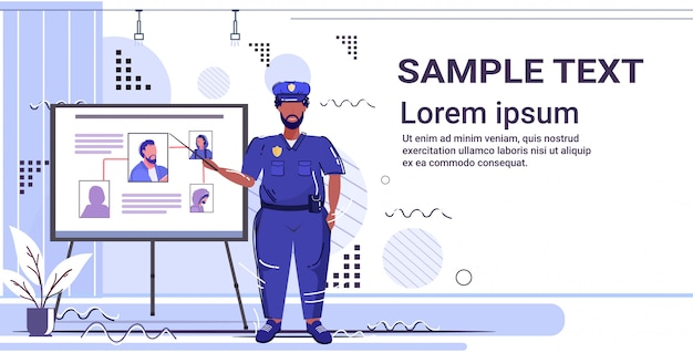 Police officer presenting information board with thief photo african american policeman in uniform security authority justice law service concept  copy space Premium Vector