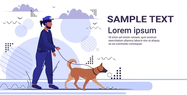 Police officer walking with german shepherd policeman in uniform with dog security authority justice law service concept  copy space Premium Vector