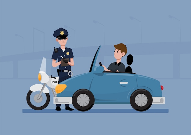 Police officer writing a ticket Premium Vector
