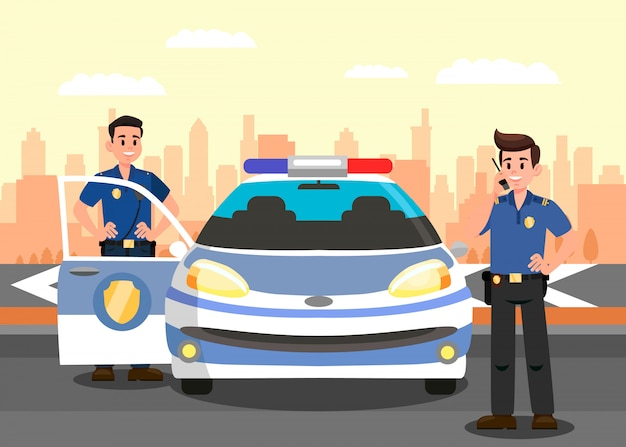 Police officers and car flat vector illustration Premium Vector