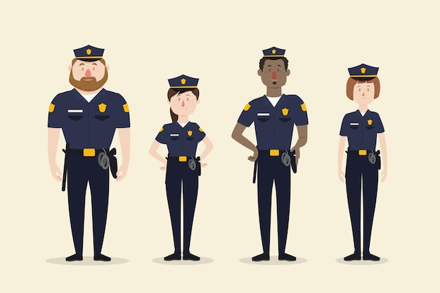 Police officers collection Free Vector