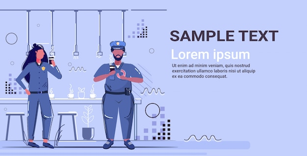 Police officers eating donuts drinking coffee policeman and policewoman in uniform having lunch security authority justice law service concept cafe interior full length  copy space Premium Vector