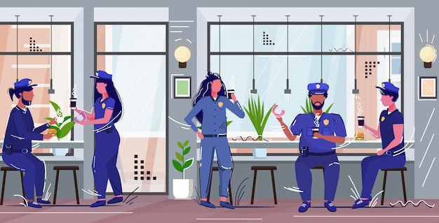 Police officers eating donuts drinking coffee policemen and policewomen in uniform having lunch security authority justice law service concept modern cafe interior full length  sketch Premium Vector