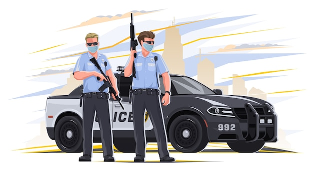 Police officers with weapons in their hands serving in law enforcement. in the background, a police car, do risky work. the police are at law enforcement. Premium Vector
