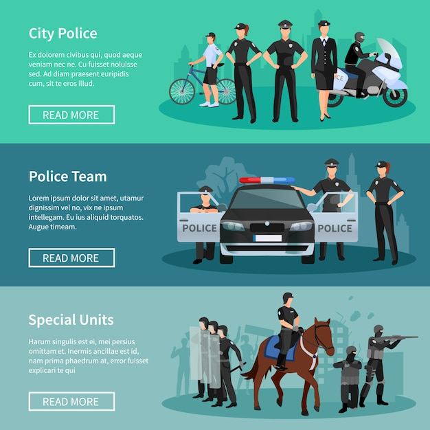 Police people banners set of special units mounted police city police and police tea Free Vector