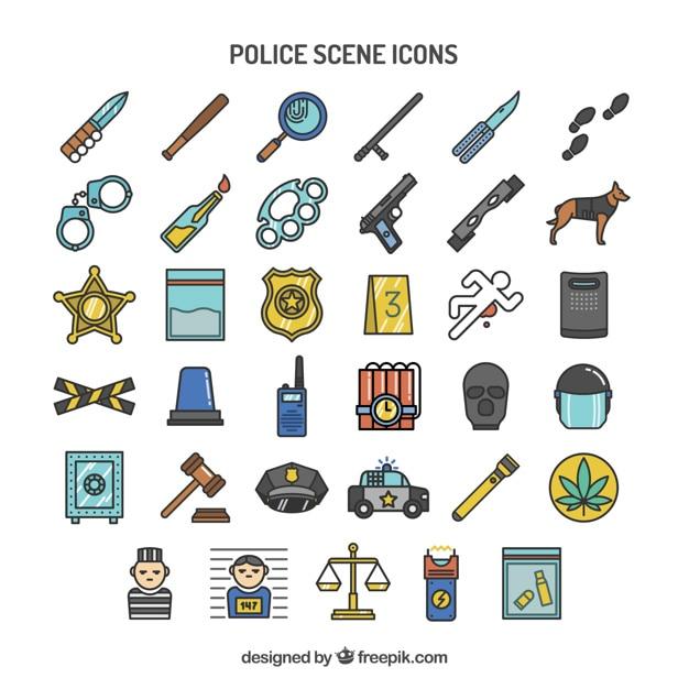Police scene icons Premium Vector