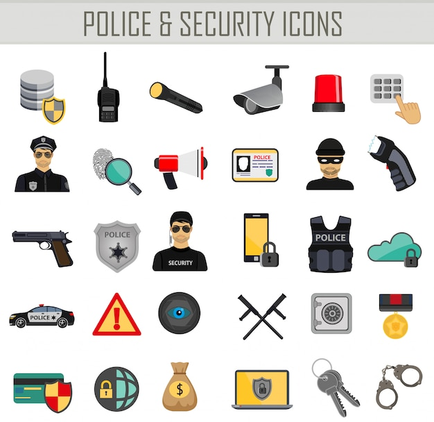 Police security and crime icons Premium Vector