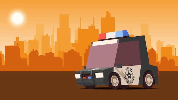Police sedan on city landscape background. isoflat styled illustration. Premium Vector