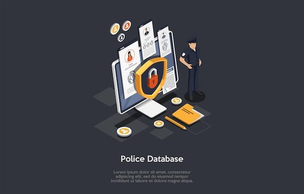 警察サービス、法と正義、刑事概念。警官は警察データベースへのロックされたアクセスで大画面を保護します。セキュリティシールドロックアイコン Premiumベクター
