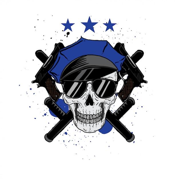 Police skull profession Premium Vector