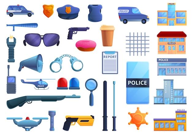 Набор иконок полицейский участок, мультяшном стиле Premium векторы
