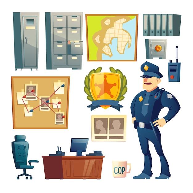 Полицейский участок интерьера элемент мультфильм векторный набор Бесплатные векторы